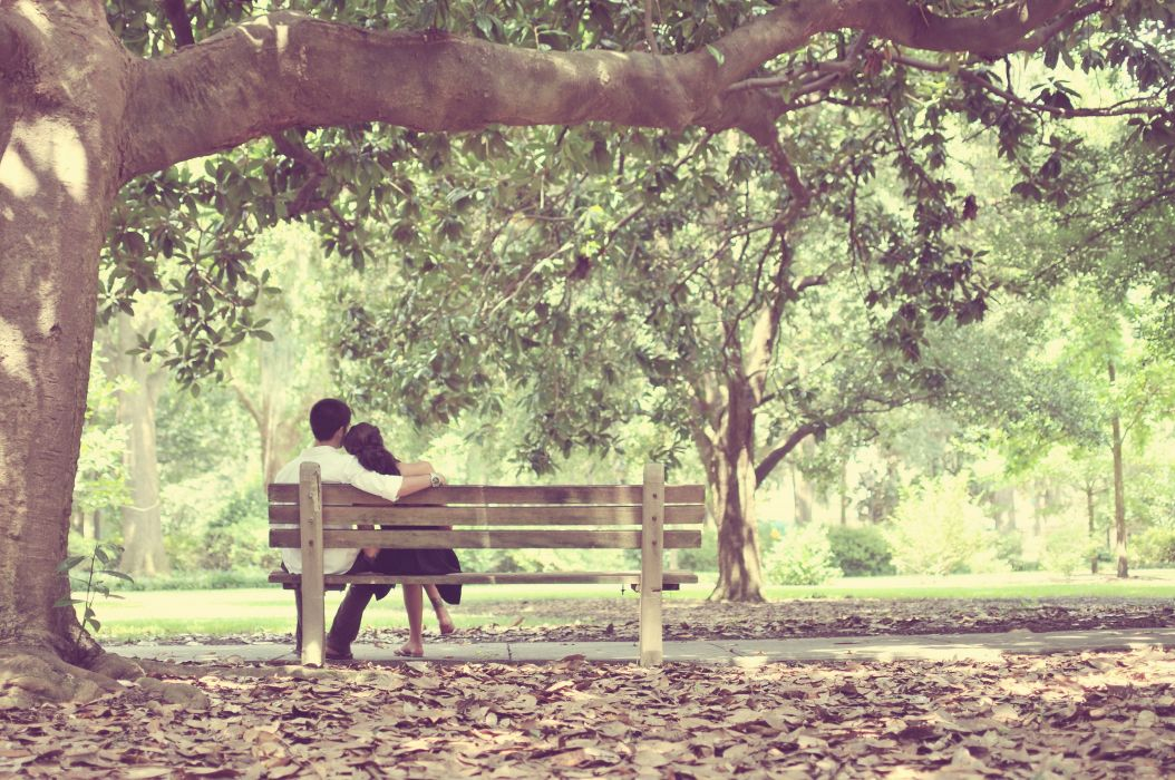 couple love mood people men women bench wallpaper