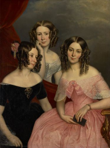 George Theodore Berthon art oil painting beauty girls dress smile face curly hair wallpaper