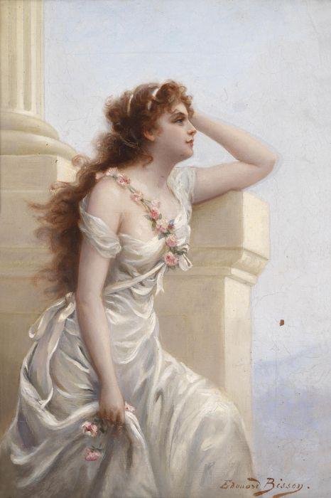 art oil beauty painting beautiful rose dress girl white long hair wallpaper
