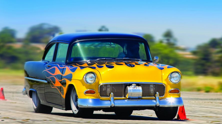 1955 Chevrolet Chevy 210 Coupe Pro Touring Suoerstreet USA -01 wallpaper