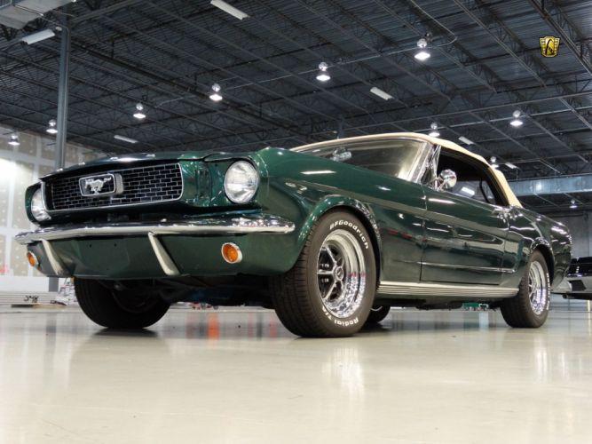 1966 Ford Mustang green convertible cars wallpaper
