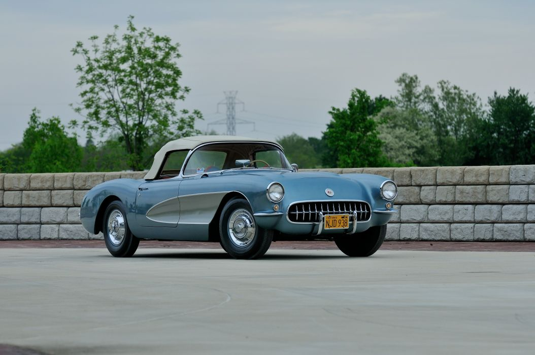 1956 Chevrolet Corvette Convertible Classic Old Retro Vintage Sport USA -09 wallpaper