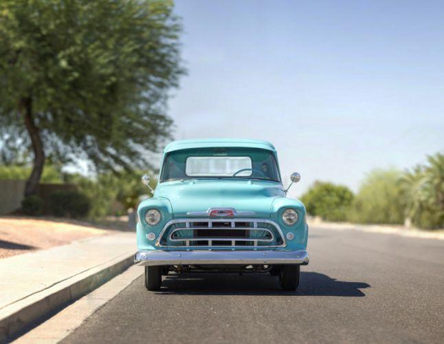 1957 Chevrolet Chevy 3100 Pickup Stepside Classic Old Vintage Retro Original USA -01 wallpaper
