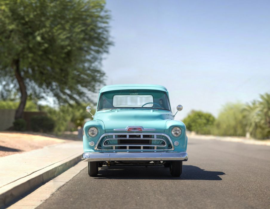 1957 Chevrolet Chevy 3100 Pickup Stepside Classic Old Vintage Retro Original USA -01 wallpaper
