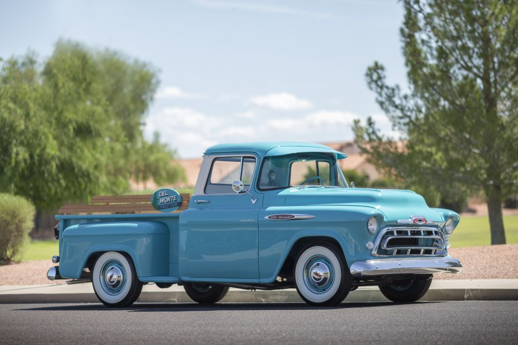 1957 Chevrolet Chevy 3100 Pickup Stepside Classic Old Vintage Retro Original USA -08 wallpaper