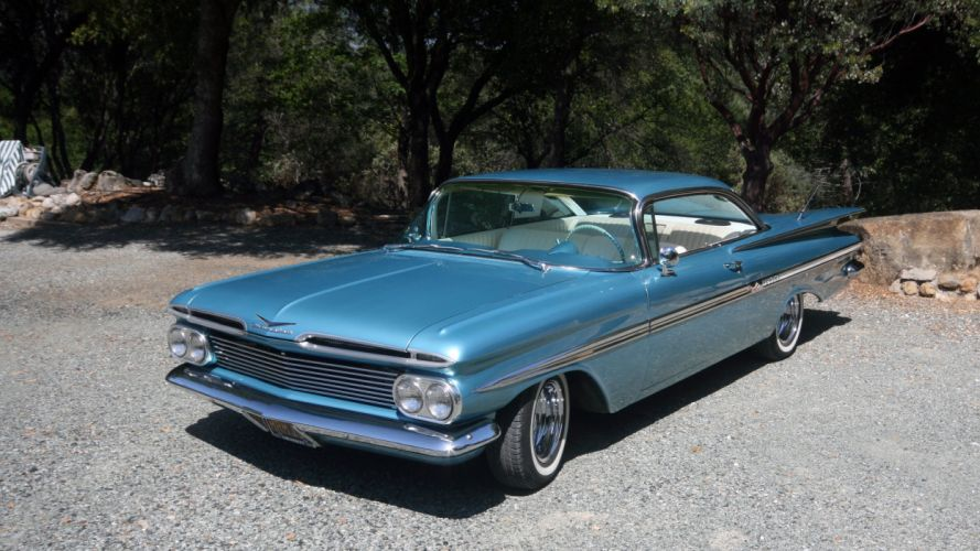 1959 Chevrolet Chevy Impala Coupe Hardtop Custom Resto Mod Street Rod Hot USA -01 wallpaper