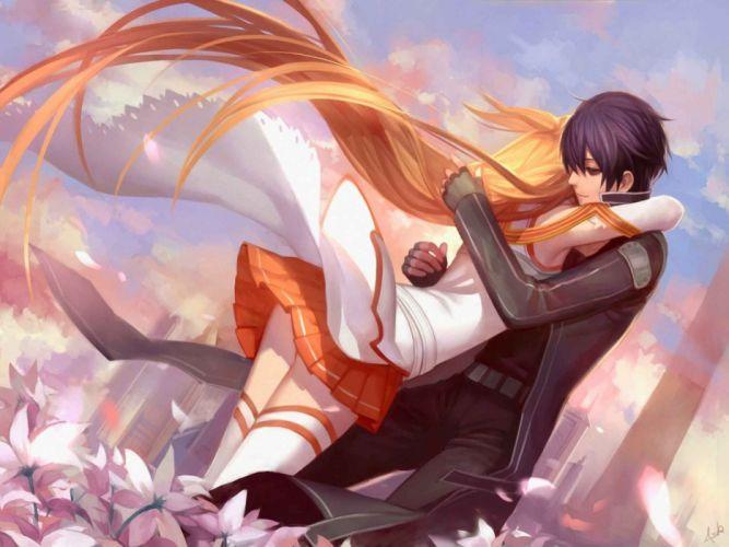 asukaziye kirigaya kazuto sword art online yuuki hug hugging couple love mood people men women happy wallpaper