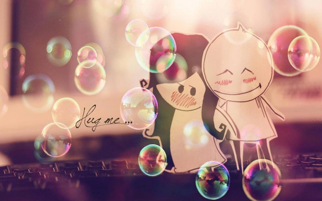hug hugging couple love mood people men women happy cute bubbles wallpaper
