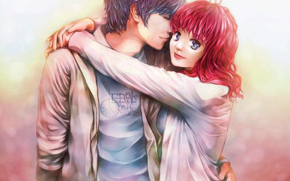 hug hugging couple love mood people men women happy anime original artwork wallpaper