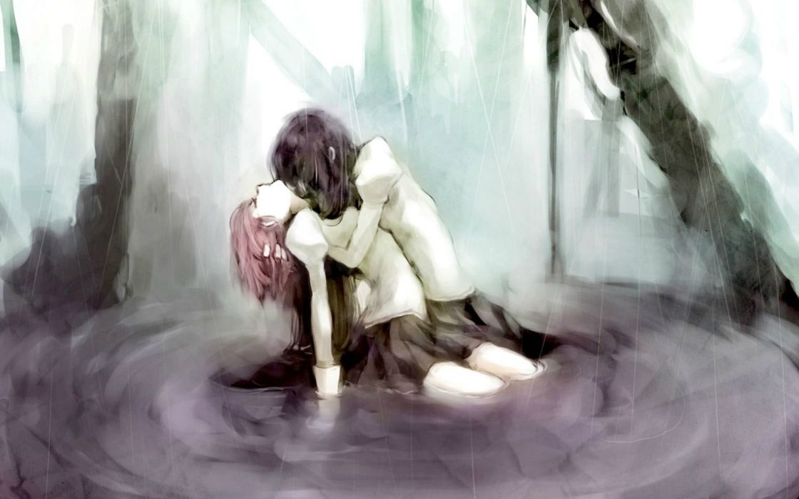Puella Magi Madoka Magica hug hugging couple love mood people men women sad sorrow wallpaper