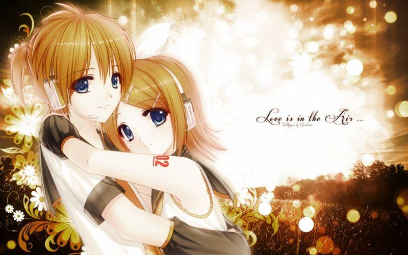 Vocaloid Kagamine Rin hug hugging couple love mood people men women happy wallpaper