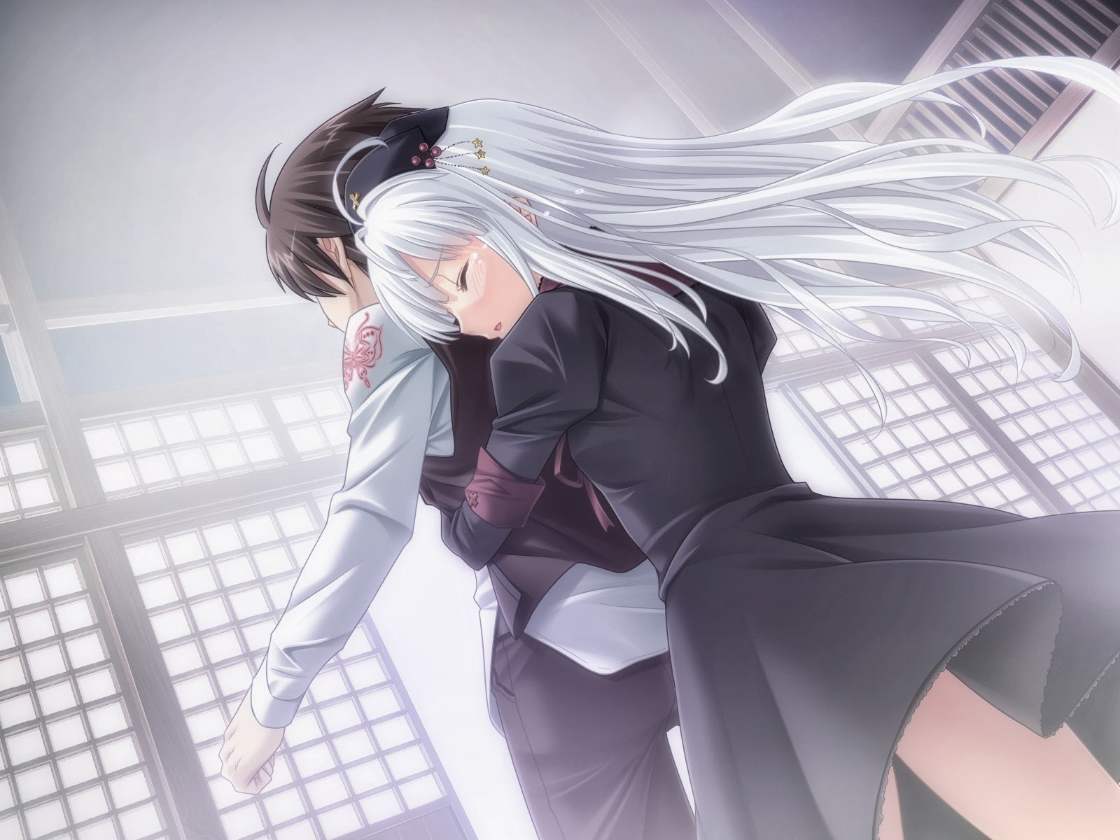 Anime couple hug from the back
