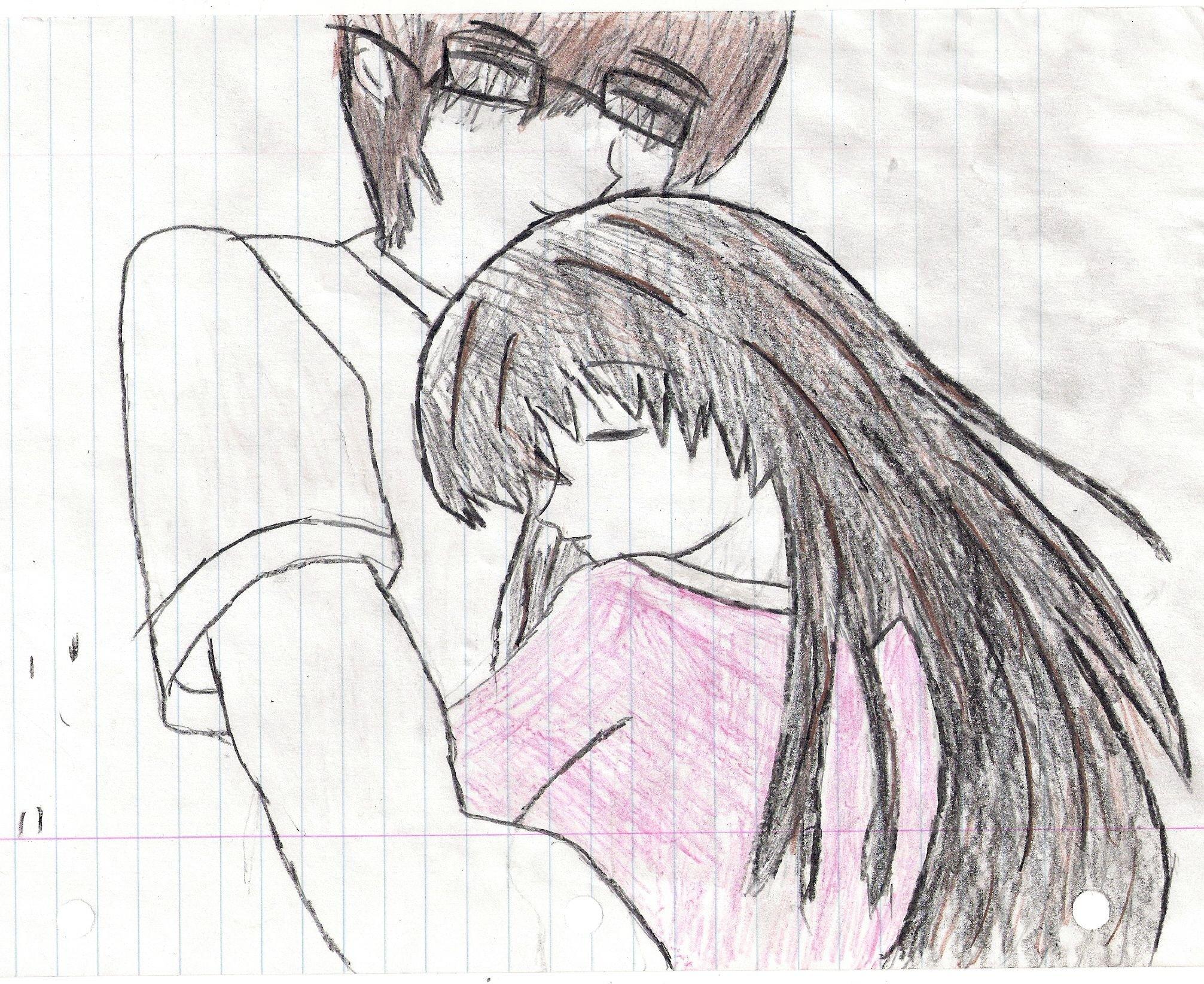 Hug Hugging Couple Love Mood People Men Women Happy Original Anime