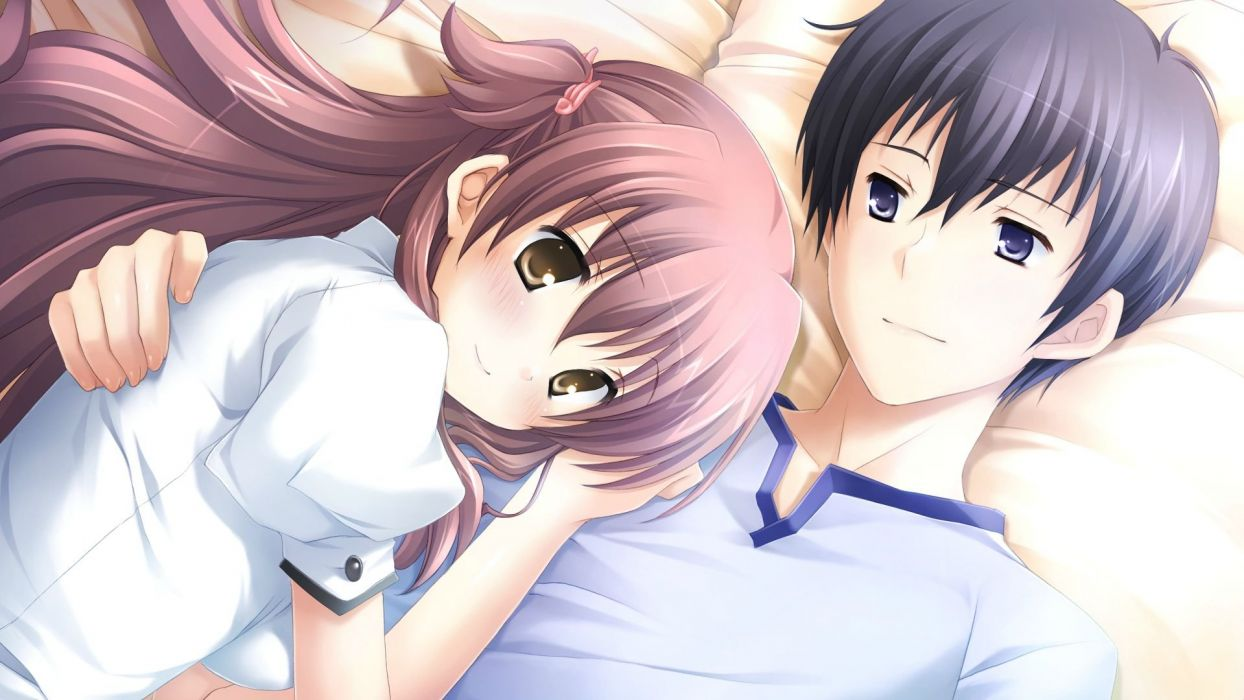 anime girl guy skirt blouse anime hug hugging couple love mood