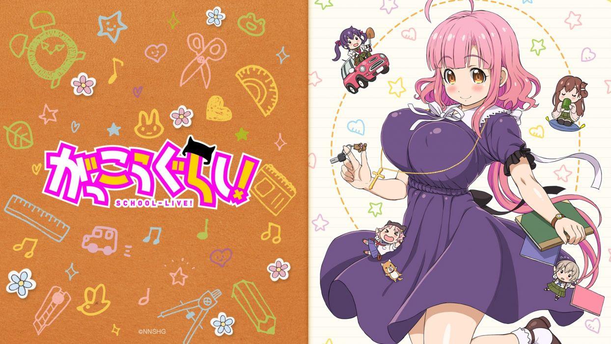 chibi dress ebisuzawa kurumi erect nipples gakkou gurashi! naoki miki sakura megumi seifuku tagme (artist) takeya yuki thighhighs wakasa yuuri wallpaper