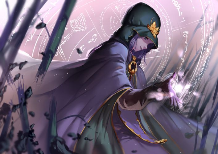 blue eyes cape caster fate stay night gloves hon (loliconxh123) magic purple hair wallpaper