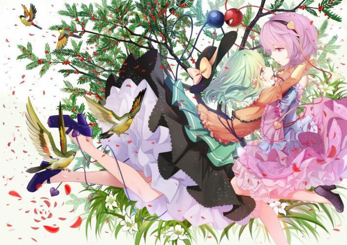 girls animal bird cloudy r flowers hat headband hug komeiji koishi komeiji satori leaves petals short hair shoujo ai skirt touhou tree wallpaper