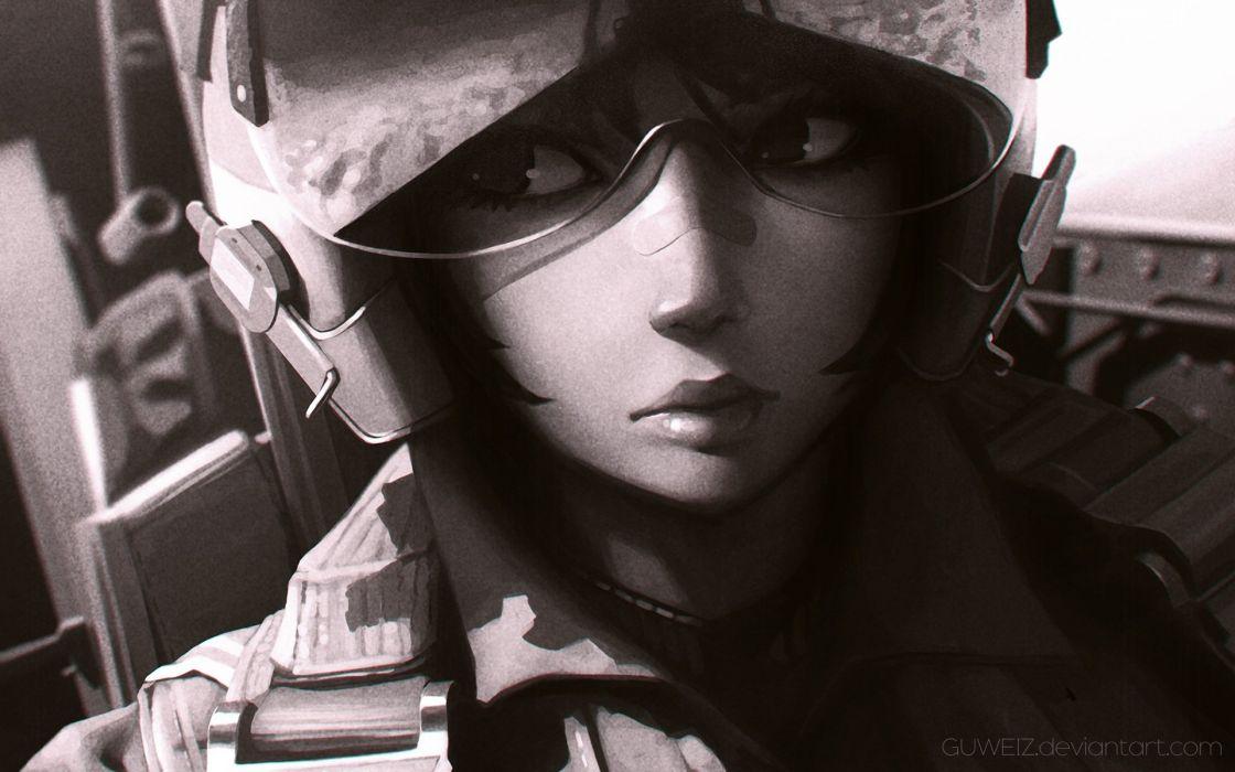 bandaid goggles guweiz military monochrome original uniform watermark wallpaper