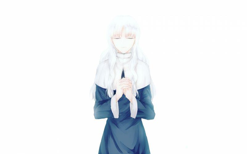 caren ortensia fate hollow ataraxia fate stay night long hair nun white white hair wallpaper