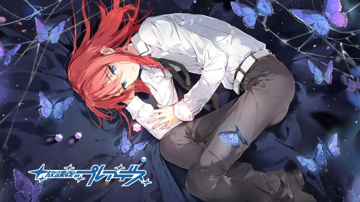 male anmi butterfly houkago no pleiades long hair male minato (houkago no pleiades) red hair shirt tie wallpaper