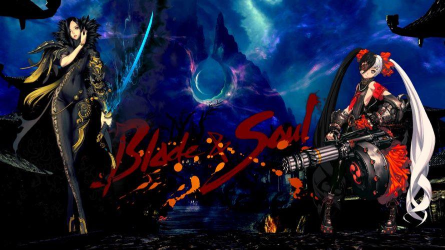 armor black hair blade & soul bodysuit eyepatch gun magic night red eyes sword twintails weapon wallpaper