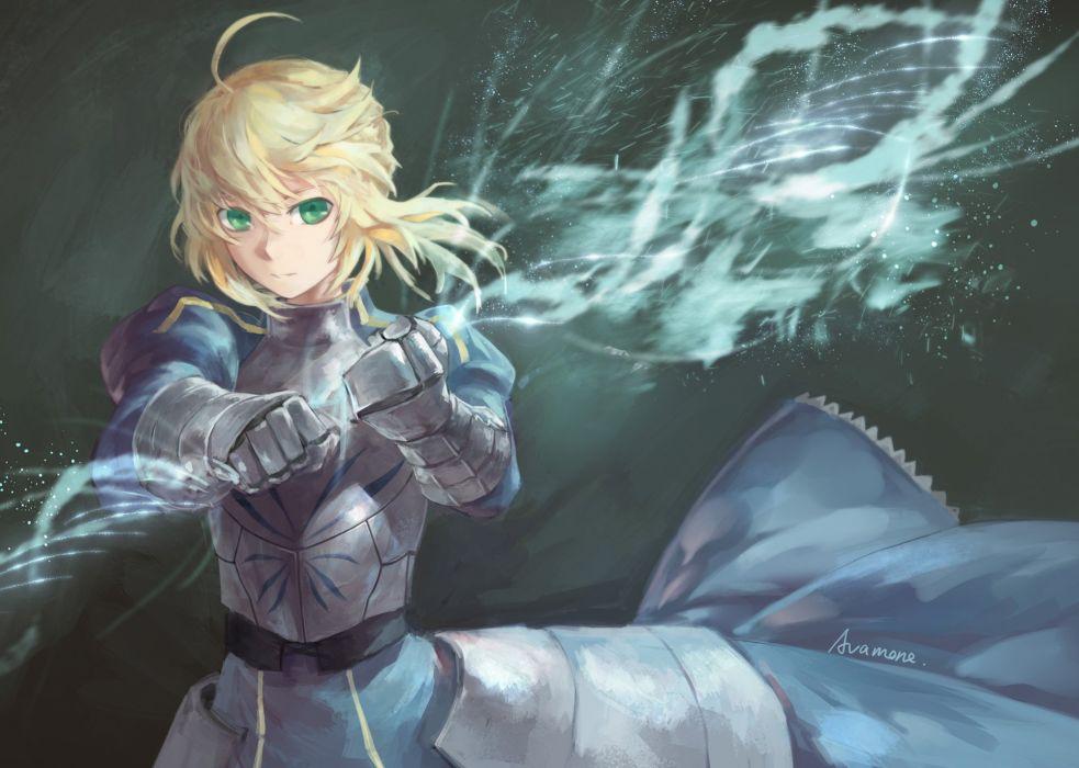 armor avamone blonde hair dark dress fate stay night green eyes magic saber signed wallpaper