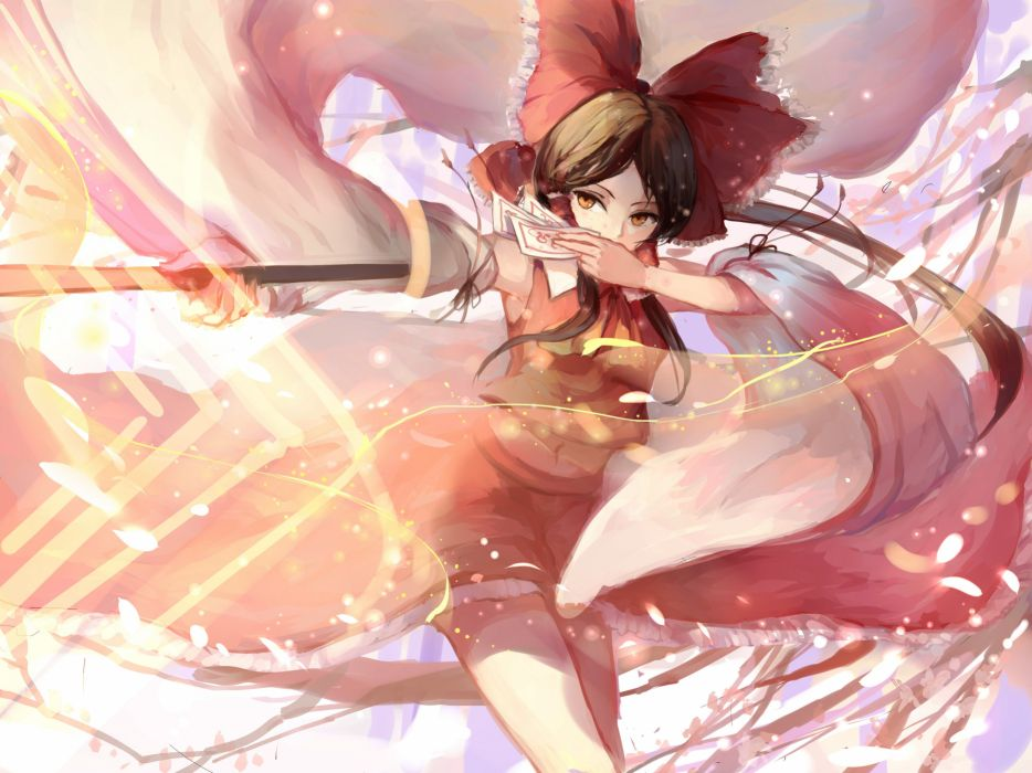 bow brown hair hakurei reimu japanese clothes leaves long hair miko navel ofuda orange eyes ponytail sishenfan touhou wallpaper