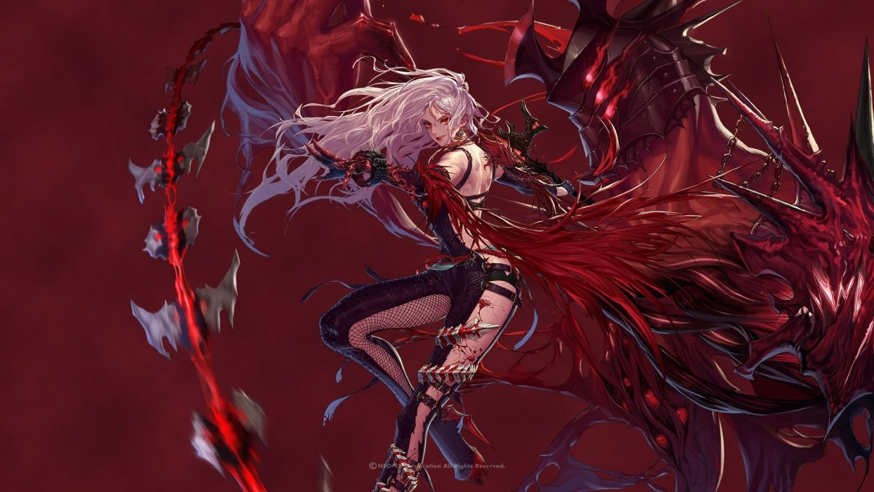 dungeon fighter elbow gloves hanaboo long hair red eyes white hair wristwear wallpaper