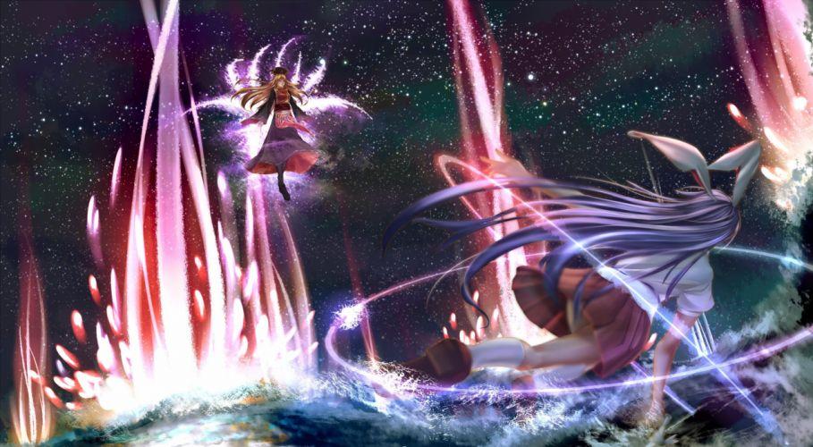 girls animal ears blonde hair bunny ears bunnygirl dress haru-kun hat junko kneehighs long hair magic purple hair skirt stars touhou wallpaper