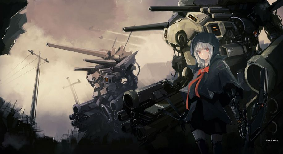 aircraft bow hoodie mecha mechagirl novelance original red eyes ribbons thighhighs white hair wallpaper