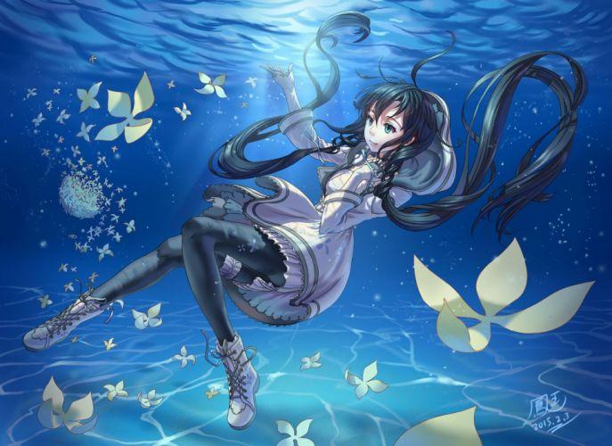 aqua eyes black hair boots flowers hoodie ho-oh (artist) long hair pantyhose twintails underwater utau vocaloid water xia yu yao wallpaper