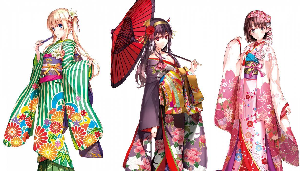 breasts cleavage japanese clothes kasumigaoka utaha katou megumi kimono misaki kurehito open shirt sawamura spencer eriri umbrella white wallpaper