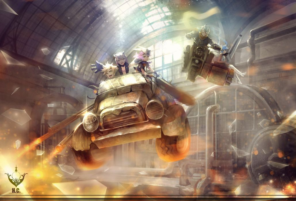 car chainsaw fire goggles group jpeg artifacts male motorcycle orry pixiv fantasia wallpaper