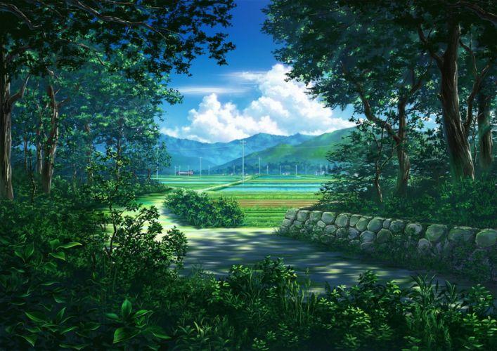 clouds ichimiya (araintell) scenic train tree wallpaper
