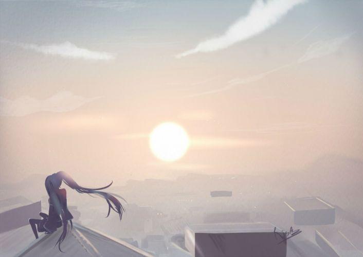 hatsune miku pantyhose risa1 sunset twintails vocaloid wallpaper