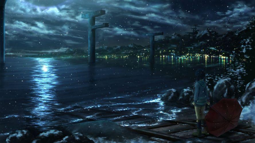 ichimiya (araintell) nagi no asukara night scenic shiodome miuna snow umbrella water wallpaper