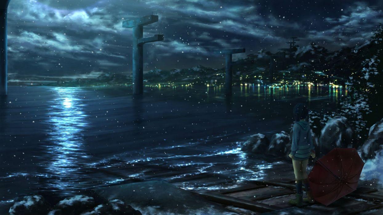 Ichimiya Araintell Nagi No Asukara Night Scenic Shiodome Miuna Snow Umbrella Water Wallpaper