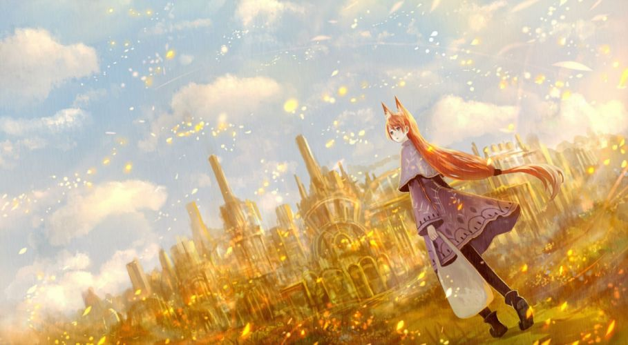 animal ears boots bou nin building cape clouds long hair orange hair original ponytail sky wallpaper