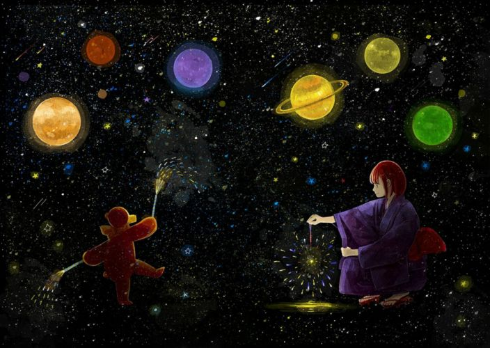 fireworks japanese clothes nomiya (no 38) original planet red hair stars teddy bear yukata wallpaper