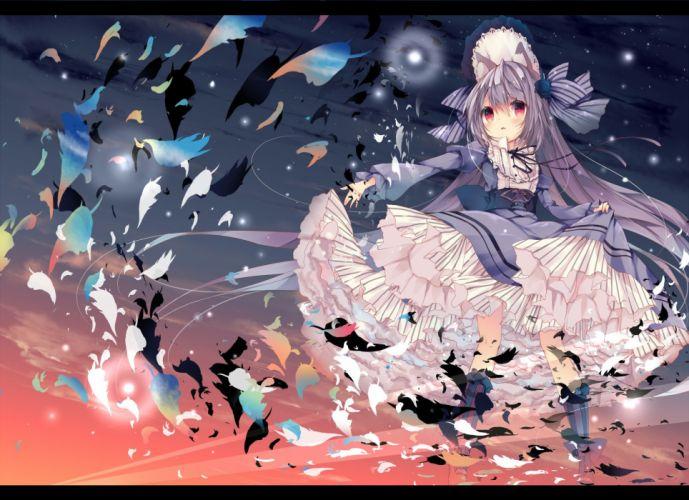 catgirl gray hair headdress kneehighs lolita fashion long hair original red eyes sunset umi no mizu wallpaper
