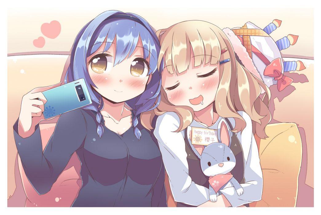 girls blonde hair blue hair blush brown eyes bunny furutani himawari hat headband heart oomuro sakurako phone sleeping takahero yuru yuri wallpaper