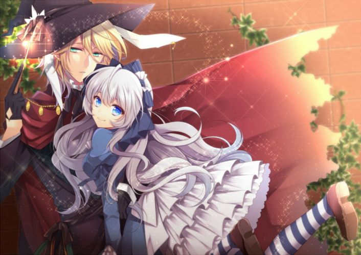 agekichi blonde hair blue eyes bow cape dress gloves gray hair green eyes hat long hair mage magic male original thighhighs wand witch hat wallpaper