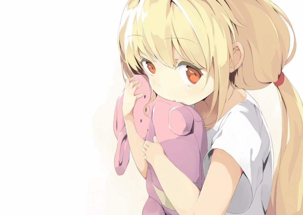 blonde hair brown eyes close futaba anzu idolmaster idolmaster cinderella girls long hair mafu9 teddy bear twintails white wallpaper