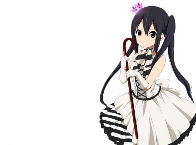 black hair brown eyes crown dress gloves k-on! long hair nakano azusa ragho no erika twintails white wallpaper