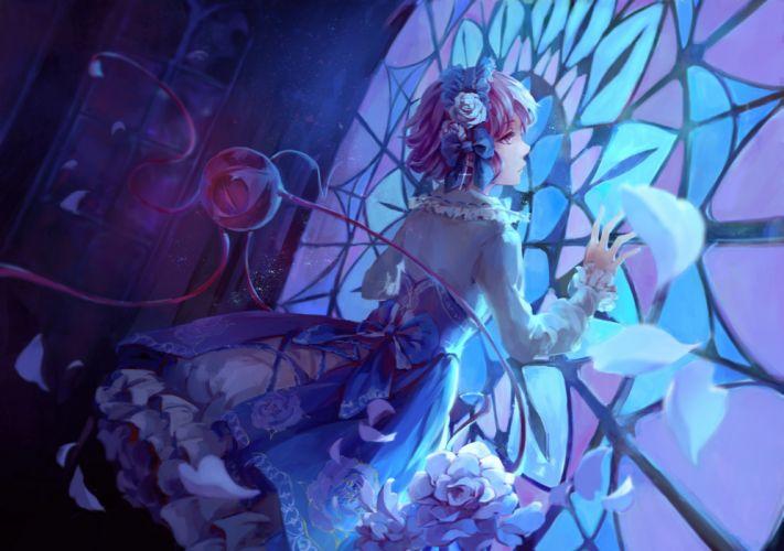 bow dress flowers headband jlien- komeiji satori petals purple eyes purple hair short hair touhou wallpaper