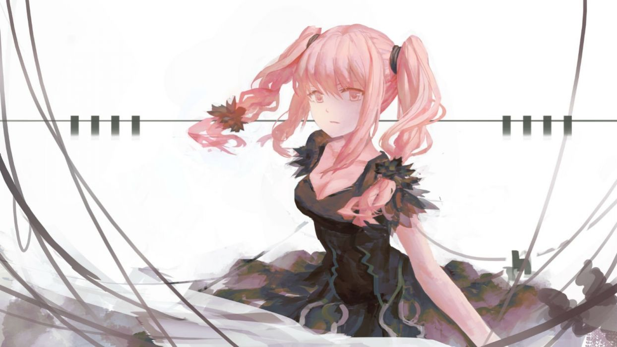 breasts cleavage dress pink hair twintails zxq wallpaper