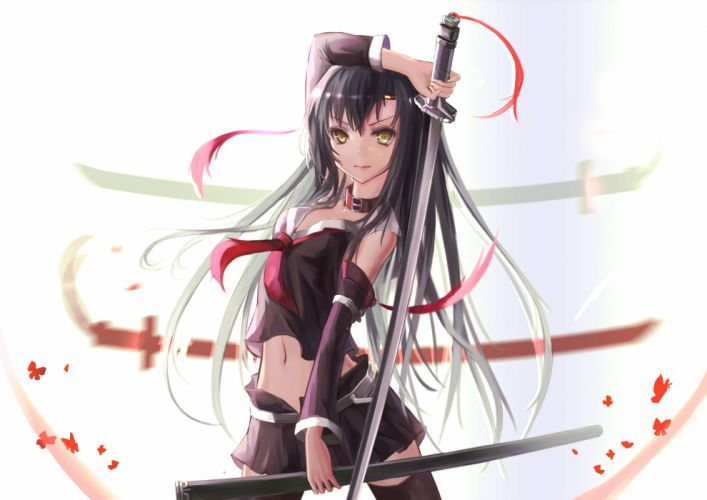 black hair choker hc jpeg artifacts katana long hair navel original skirt sword thighhighs weapon yellow eyes wallpaper