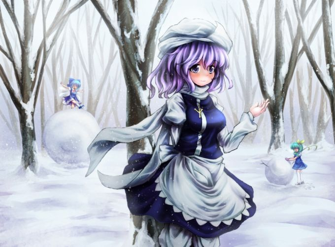 cirno daiyousei fairy letty whiterock purple eyes snow t m (aqua6233) touhou tree wallpaper
