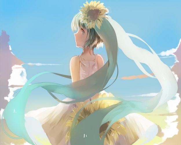 aqua eyes aqua hair cropped dress flowers hatsune miku long hair sunflower twintails vocaloid weitu wallpaper