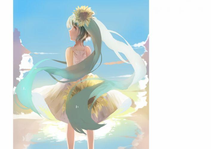 aqua eyes aqua hair dress flowers hatsune miku long hair sunflower twintails vocaloid weitu wallpaper